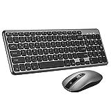 TOPELEK Tastatur Maus Set Kabellos, 2.4GHz QWERTZ Deutsches Layout, Funktastatur mit Maus, Wasserdicht Tastenkappen mit 3 Stufige DPI Mute Funkmaus, und 2 in 1 Nano USB Empfänger