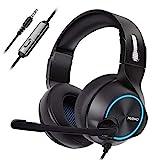 NUBWO PS4 Xbox One Headset Stereo Wired Game Headset mit Rauschunterdrückung Mikrofon, Over-Ear-Kopfhörer mit Lautstärke- und Stummschaltung, für Mac/Playstation 4 / Xbox 1, Blau
