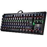 Mechanische Gaming Tastaturen, TOPELEK 105-Key QWERTZ Gamer Tastaturen Multimedia-Tastaturen Blue Switches Anti-Ghosting LED, Mehr Farben Hintergrundbeleuchtung Keyclick für Gamer und Typisten