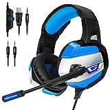 ECHTPower PS4 Headset Gaming Kopfhörer mit Mikrofon LED Effekt On Ear Surround Sound Ohrhörer und Lautstärkeregelung für PS4 Xbox One PC Laptop Tablet Mobile Phones Blau