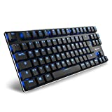 Sharkoon PureWriter TKL Blue Mechanische Low Profile-Tastatur (mit Flachen Tasten, Tenkeyless, Blauer LED Beleuchtung, Beleuchtungseffekten, Abnehmbarem USB Kabel) Schwarz