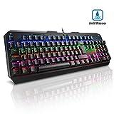 VicTsing Mechanische Gaming Tastatur (QWERTZ), Blau Schalter mit USB Kabel, 105 Tasten Anti-Ghosting, 7 Farben LED-Hintergrundbeleuchtung, ideal programmierbare Keyboard für Gamer(Windows)