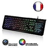 KLIM Domination - ITALY - Mechanische RGB-QWERTZ-Tastatur - Neue 2018 Version - Blaue Tasten - Schneller, präziser, angenehmer Tastenanschlag - 5 Jahre Garantie - VOLLSTÄNDIGE FREIHEIT BEI DER FARBAUSWAHL PC PS4