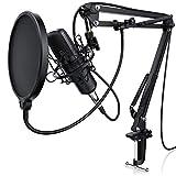 LIAM & DAAN Kondensatormikrofon Mikrofonarm - Studiomikrofon Set - Großmembran Kondensatormikrofon Mikrofonarm und Spinne - Popschutz 2,5m 3,5mm Klinke zu XLR Kabel - neues Modell 2019