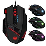 ECHTPower Programmierbare Gaming Maus für Pro Gamer, 12 Tasten, 4000dpi, Marko Funktion, Feuer Tasten, DPI einstellbar, USB Wired Kabel Gaming Mäuse LED beleuchtete Mouse, optisch, ergonomisch