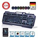 KLIMTM Lightning - NEU 2019 - Hybrid Halbmechanische Tastatur QWERTZ DEUTSCH + sieben verschiedene Farben + 5-Jahre Garantie - Metallstruktur - Gamer Gaming-Tastatur für Videospiele PC PS4 Xbox One