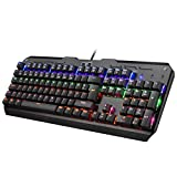 Mechanische Gaming Tastaturen, TOPELEK 105-Key QWERTZ Gamer Tastaturen Multimedia-Tastaturen Blue Switches Anti-Ghosting LED, Mehr Farben Hintergrundbeleuchtung Keyclick für Gamer und Typisten