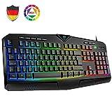 VicTsing Gaming Tastatur RGB beleuchtete Tastatur USB (DE Layout), 8 unabhängige Tasten, 25 Anti-Ghosting Gamer Keyboard Wired, langlebig/wasserdicht/Anti-Fading/rutschfest, für PC/Windows/Mac Schwarz