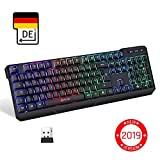KLIMTM Chroma Wireless Gaming Tastatur - Gamer Keyboard LED Beleuchtete QWERTZ DEUTSCH - Hohe Leistung - Bunte Beleuchtung RGB - PC, Mac, Laptop, PS4, Xbox One X - 2019 Version - Schwarz