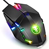 Wired Gaming Maus, Fnova RGB Gamer Mouse, 4000 DPI Einstellung, Ergonomisches Professionelle Optische USB Maus, Hohen Präzision LED Mäuse für PC Mac Laptop Office Home