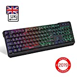 KLIM Chroma Tastatur Gamer QWERTY UK Layout Wireless – Hohe Leistung – Bunte Beleuchtung - Schwarz - RGB PC Windows, Mac PS4
