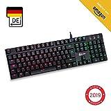KLIMTM Dash - Niedrigprofil mechanische QWERTZ Tastatur mit roten Schaltern für kultivierte Professionelle Anwender und Gamer - 10 Jahres Garantie - RGB Farben - Metallrahmen Vollständige Anpassbarkeit