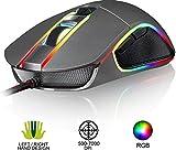 KLIM AIM Chroma RGB Gaming Mouse - 2019 Version - PRÄZISE - Kabel-USB - 500-7000 DPI einstellbar - Programmierbare Tasten - Bequem für alle Handgrößen - Beidhändiger Griff Gamer Gaming PC PS4 Grau