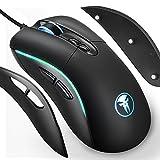4 in 1 RGB Gaming Maus, FNOVA Optische LED Mouse 4000 DPI Professionelle Wired Mäuse mit 7 Programmierbare Tasten - 4 DPI Stufen - Ergonomisch Austauschbaren Seitenteilen für alle Handgrößen Gamer