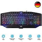 TOPELEK Beleuchtete USB Tastatur Kabelgebunden Tastatur Mit 7 Farbigen Beleuchtung QWERTZ Deutsch Layout Tastatur (19 Anti-Ghosting & 14 Multimediatasten)