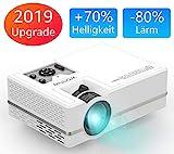 WONNIE Mini LED Beamer, Echte 2400 Lumen, Video Projektor mit 1080P Ful lHD Unterstützung, kompatibel zu iPhone/iPad/Laptop/TV-Box, viele Schnittstellen: HDMI/VGA/SD/USB/AV/Ear