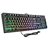 RGB Hintergrundbeleuchtung Wired Gaming Tastatur(QWERTZ), VicTsing mechanisches Gefühl USB Keyboard, wasserdichte professionelle Tastatur mit 19 Tasten Anti-Ghosting, 12 Multimedia-Tasten für PC/Laptop/Desktop/Computer - schwarz