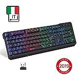 KLIMTM Chroma Tastatur Gamer Italienisch Wireless - Hohe Leistung - Bunte Beleuchtung - Schwarz - RGB PC Windows Mac PS4