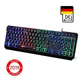 KLIM Chroma Gaming Tastatur - Gamer Keyboard LED Beleuchtete QWERTZ DEUTSCH mit USB Kabel - Hohe Leistung - Bunte Beleuchtung RGB - PC, Laptop, PS4, Xbox One X - 2019 Version - Schwarz