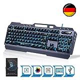 KLIM Lightning – Neue 2018 Version – Hybrid Halbmechanische Tastatur QWERTZ DEUTSCH + Sieben Verschiedene Farben + 5-Jahre Garantie – Metallstruktur – Gamer Gaming-Tastatur für Videospiele PC PS4 Windows, Mac