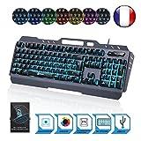 KLIM Lightning – Neue 2018 Version – Hybrid Halbmechanische Tastatur AZERTY Französisch + Sieben Verschiedene Farben + 5 Jahre Garantie – Metallstruktur – Gamer Gaming-Tastatur für Videospiele PC PS4 Windows, Mac
