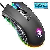 Yocktec RGB Hintergrundbeleuchtete optische Gaming-Maus, 8 programmierbare Tasten kabelgebundene ergonomische Gaming-Mäuse mit 10000DPI Einstellbarer Stufe, Makrodefinition für PC Computer Laptop