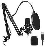 Newhaodi USB Computer Mikrofon-Kit Plug & Play USB Nierenmikrofon-Podcast-Kondensatormikrofon mit USB PC Mikrofon professionellem Sound-Chipset für PC Karaoke, YouTube, Gaming-Aufnahme