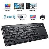 VicTsing Wireless Tastatur, Touch Tastatur, USB Tastatur, QWERTZ, einfachere Lifestyle, kabellos Keyboard fr PC/Smart TV//Laptop/PS4/Projector/Tablet, Deutsche Layout, Schwarz