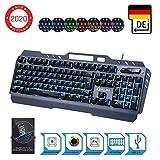 KLIM Lightning Hybrid Halbmechanische Tastatur QWERTZ DEUTSCH + Sieben Metallstruktur – Gamer Gaming-Tastatur für Videospiele PC PS4 Xbox One - Neue 2020 Version