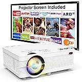 Beamer QKK AK-81 Projektor Mini Beamer mit Screen 4500 Lumens Videobeamer unterstützt 1080P Full HD Kompatibel mit TV Stick, PS4, HDMI, VGA, SD, AV und USB, Heimkino Projektor, Weiß, MEHRWEG.