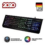 KLIM Domination - DEUTSCHE - Mechanische RGB-QWERTZ-Tastatur - Neue 2020 - Blaue Tasten - Schneller Prziser Angenehmer Tastenanschlag - VOLLSTNDIGE FREIHEIT BEI DER FARBAUSWAHL PC PS4 Xbox One