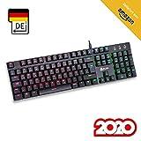 KLIM Dash  Niedrigprofil mechanische QWERTZ Tastatur mit roten Schaltern fr kultivierte Professionelle Anwender und Gamer - RGB Farben - Metallrahmen Vollstndige Anpassbarkeit