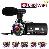 4K Camcorder Videokamera 30MP WiFi Connectivity Vlogging Kamera mit 3,0 Touchscreen IR Nachtsicht Digitalkamera Externes Mikrofon und Zeitraffer