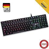 KLIM Dash – Niedrigprofil mechanische QWERTZ Tastatur mit roten Schaltern für kultivierte Professionelle Anwender und Gamer - RGB Farben - Metallrahmen Vollständige Anpassbarkeit