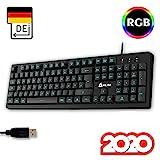 KLIM Bolt - Gaming Tastatur + Schneller und prziser Anschlag + Hinterleuchtete RGB Tastatur mit Multimedia-Steuerung + 7 Farben und 3 Effekte + Kompatibel mit PC PS4 Xbox One + Schwarz + NEU 2020