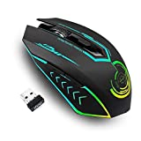 uhuru Gaming Maus kabellos, Bis zu 10000 DPI Programmierbare Gaming Mouse mit 6 Programmierbaren Tasten, 7 Wechselbaren Farben, Ergonomische Makro-MMO-RPG für PC-Computer, Laptop, Spielekonsole