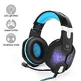 PC&PS4 Gaming Headset, marsboy Gaming Kopfhrer mit Mikrofon LED Effekt fr PS4 PC Film Gaming Spielen Chat Musik Blau.
