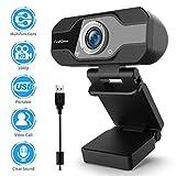 TedGem Webcam, 1080P, PC Webcam mit Mikrofon Full HD Webcam USB Webcam Streaming Webcam für Videoanrufe und Aufnahme, klein/flexibel/einstellbar, unterstützt Windows, Android, Linux