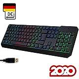 KLIM Chroma Gaming Tastatur QWERTZ DEUTSCH mit Kabel USB + Langlebig, Ergonomisch, Wasserdicht, Leise Tasten + RGB Gamer Tastatur fr PC Mac Xbox One X PS4 Tastatur + NEUE 2020 Version + Schwarz