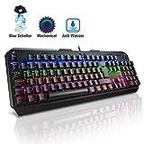 VicTsing Mechanische Tastatur Gaming mit LED, USB Tastatur, Programmierbar, Blau Schalter mit Kabel (QWERTZ), 100% Anti-Ghosting, 7 Farben Beleuchtung, Keyboard für Gamer(Windows)