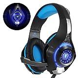 Beexcellent Gaming Headset fr PS4 PC Xbox One, LED Licht Crystal Clarity Sound Professional Kopfhrer mit Mikrofon fr Laptop Mac Handy Tablet Blau
