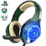 Beexcellent Gaming Headset fr PS4 PC Xbox One, LED Licht Crystal Clarity Sound Professional Kopfhrer mit Mikrofon fr Laptop Mac Handy Tablet (Grn)
