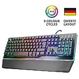 Trust GXT Halbmechanische LED Gaming Tastatur (Deutsches QWERTZ Layout, RGB-Beleuchtung, Anti-Ghosting) schwarz