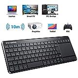 VicTsing Wireless Tastatur, Touch Tastatur, USB Tastatur mit Bluetooth, QWERTZ, einfachere Lifestyle, kabellos Keyboard für PC/Smart TV//Laptop/PS4/Projector/Tablet, Deutsche Layout, Schwarz