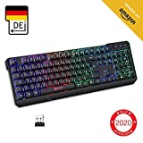 KLIM Chroma Wireless Gaming Tastatur Kabellos QWERTZ DEUTSCH + Langlebig, Ergonomisch, Wasserdicht, Leise + RGB Kabellose Tastatur Gaming für PC PS4 Mac + Neue 2020 Version + Schwarz